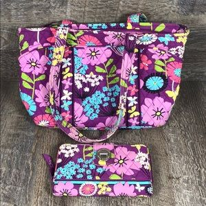 Iconic Vera Bradley Tote and Matching Wallet